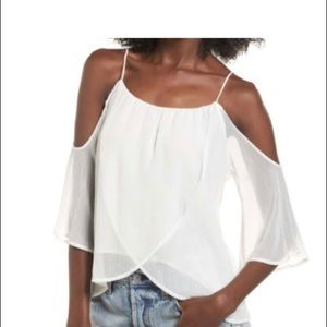 White cold shoulder top NWT